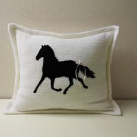 Horse pillow, Decorative Pillows, equestrian decor, Embroidered pillow, decorative equine pillow,  horse decor, Pillow covers, personalized