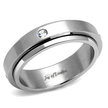 Men's Stainless Steel Russian Lab Diamond Wedding Band Ring