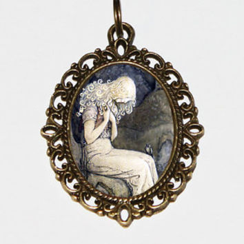 Princess Necklace, Whimsical Jewelry, John Bauer, Mythology, Bird, Bronze Oval Pendant