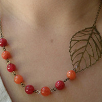 Orange bib necklace- Leaf necklace- Beaded bib necklace-Red bib necklace- Red and orange necklace- Leaf bib necklace- Asymmetrical necklace