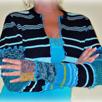 Teal Shrug, Bolero Shrug, Sweater Shrug, Long Sleeve Shrug, Dancers Shrug, Gift for Her