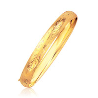 Classic Floral Carved Bangle in 14K Yellow Gold (8.0mm)