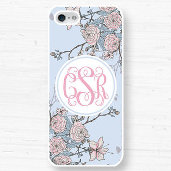 Monogram iPhone 5, 4 Case - vintage floral Samsung Galaxy s2 s3 s4 note, Ipod Touch 4, 5, Blackberry - 0047 DD
