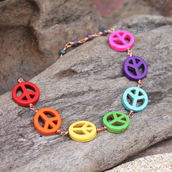 Peace Sign Jewelry - Rainbow Anklet - Ankle Bracelet made in Hawaii - Peace Jewelry - Hippie Peace Anklet - Hippie Jewelry from Hawaii