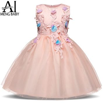 Infant Party Dress For Girl Clothes Clothing Pink Flower Girl Wedding Gown Children Special Events Occasion Wear