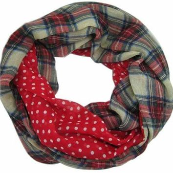 CREYU3C Free Shipping 2016 New Fashion Navy Beige Tartan Dotted and Plaid Check  Infinity Scarf Snood Scarves For Women /Ladies,9 Color