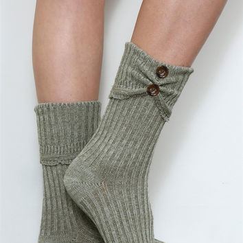 Crew Scrunch Button Boot Sock