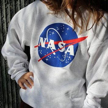 LMFONPR Women NASA Letter Printed Sweatershirt Pullover Hoodies Round Collar Long Sleeve Female Clothing Autumn Spring Sweatshirt