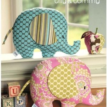 Stuffed Animal Pattern - PDF Sewing Pattern Tilly and Tommy Elephant Softies - Elephant Pillow Pattern