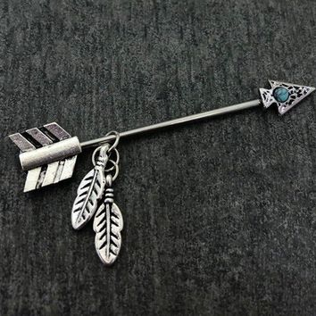Native American Arrow head, feathers turquoise Industrial/Scaffold barbell 14 gauge stainless steel body jewelry
