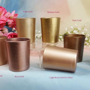 24 per Gold Glitter Glass Votive Candle Holders for Weddings and Parties, Glitter , Wedding decoration, Rose Gold, Neutrals, 25 in order