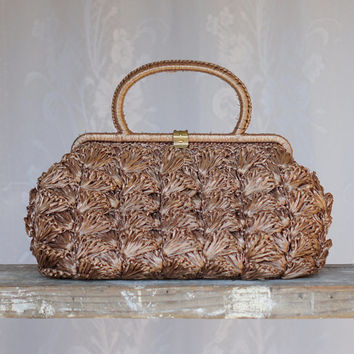 Vintage Raffia Handbag Made in Italy Chestnut Brown Large with brass clasp