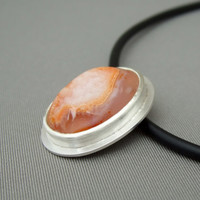 Apricot Orange Pendant Handmade From Sterling Silver and Drusy Agate