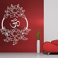 Wall Decal Vinyl Sticker Decals Lotus Flower Floral Om Buddha Namaste Yoga Indian Ganesh Pattern Tattoo Wall Stickers Home Decor Art Bedroom Design Interior Wall Decor Mural С449
