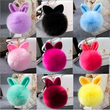 High quality cute rabbit ear hair ball pendant fur fashion handbags accessories plush keychains ornaments plush ball pendant ear