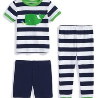Infant Boy's Little Me 'Whale' Fitted Three-Piece Pajamas,
