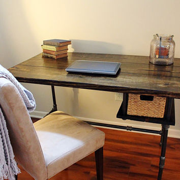 Steel and Wood Desk w/ Basket Drawer