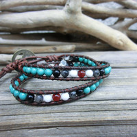 Turquoise Sea Handmade Japanese Powerstone Leather Wrap Layer Bracelet by Off on a Whim: turquoise onyx agate larvikite