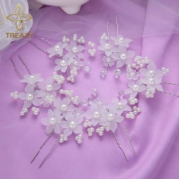 TREAZY 6pcs/lot Elegant Women Bridal Wedding Crystal Faux Pearl White Flower Hairpins Hair Clip Headpiece Wedding Accessories