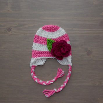 Pink and White Striped Crochet Baby Hat with Flower, Crocheted Baby Hat, Crochet Baby Girl Hat, Baby Shower Gift, Newborn Photography Prop