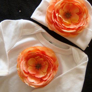 Baby girl gown layette bodysuit  TaKe Me HoMe OuTfiT white with large over sized PEACH flower matching beanie with flower and rhinestone