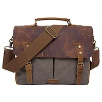 "Unisex Vintage Canvas Leather 14"" Laptop Messenger Bags Travelling Shoulder"