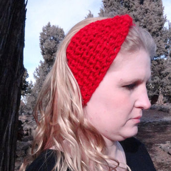 Crochet Headband, Red Bow Headband, Ear Warmer Bulky Warm Wool Yarn, Stylish, Cute, Crochet, Free Shipping USA only