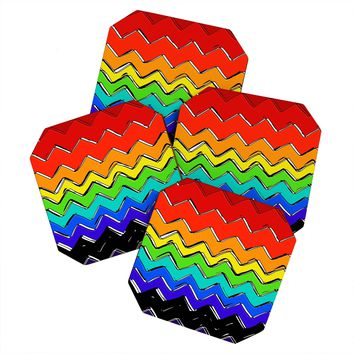 Sharon Turner Rainbow Chevron Coaster Set