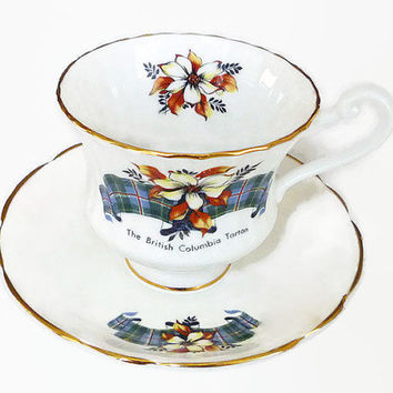 Sanford Teacup Saucer, Fine Bone China, 22 KT Gold, British Columbia, Tartan Pattern, Made in England, Tea Accessories, Vintage Drinkware