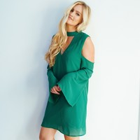 Dance Floor Shift Dress in Emerald Green