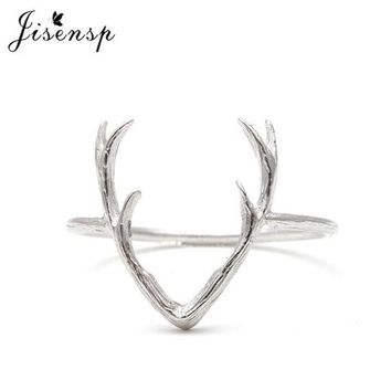Jisensp 2017 New Fashion Jewelry Rings Cute Animal Deer Antler Rings for Women Stag Animal Ring Valentine and Wedding Gifts R136