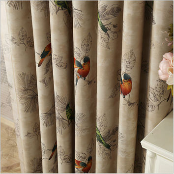 Blackout Curtains for Living Room American Rustic Decorative Kitchen Window Birds Printed Bedroom Curtains Panel(A123)