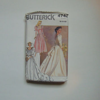 Butterick 4743 Sewing Pattern Misses Wedding Brides Bridal Dress Gown Size 8 - 10 - 12   1987