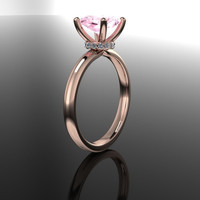 Pink Topaz and Diamond Engagement Ring 2.66 CTW