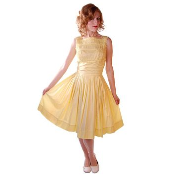 Vintage Yellow  Cotton Day Dress NWOT 1950S 32-24-Free Wendy Woods
