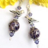 Cloisonne Dangle Earrings, Purple, Silver Birds, Swarovski Crystals, Handmade | PrettyGonzo - Jewelry on ArtFire