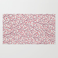 Pink Berry Branches Rug by Cat Coquillette
