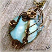 Cyan Mop Shell Wire Wrapped Pendant Necklace in Gunmetal