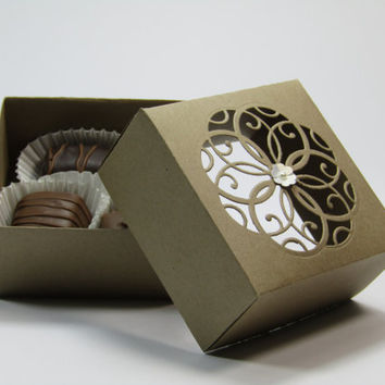12 Kraft Brown Wedding Favor Boxes - Candy Box -Treat Box - Bridal Shower /Bridesmaids / Maid of honor-Favor Boxes –Mother's Day - Gift Box