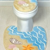 SEA SHELL Bathroom Toilet Seat Cover decor RUG seashell