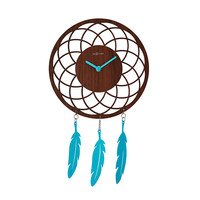 Dreamcatcher Wall Clock | Wood and Turquoise Clock
