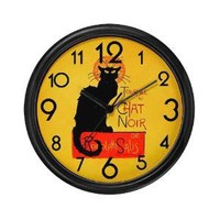 Chat Noir Black Cat Wall Clock - CafePress Australia