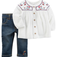2-Piece Embroidered Tunic & Denim Pant Set