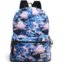 CrazyPomelo Galaxy Collection Printing Canvas Backpack (Clouds)