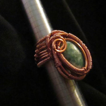 "Aset ""Isis"" Amazonite Handcrafted Wire Wrapped Over The Knuckle Ring"