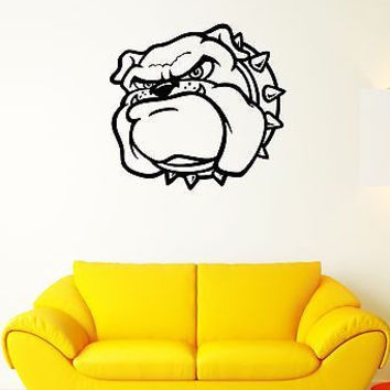 Wall Decal Angry Dog Bulldog Pet Collar Studs Guard Mural Vinyl Stickers (ed184)