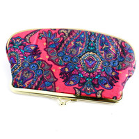 Vintage Floral Paisley Clutch - Pink and Blue Gold Tone Bag Flower Tote / Hot Pink Lining