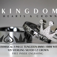 Kingdom Hearts & Crown ...Tungsten and 925 Sterling Silver CZ Crown 3 Piece Set