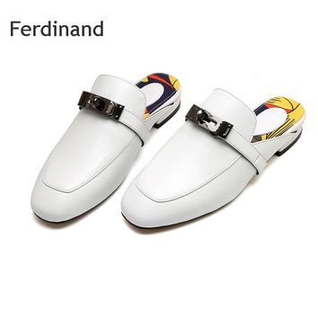 Women Mules Low heel sandals Genuine leather Women shoes Summer Fashion Casual sandals Red White Black Solid color Buckle