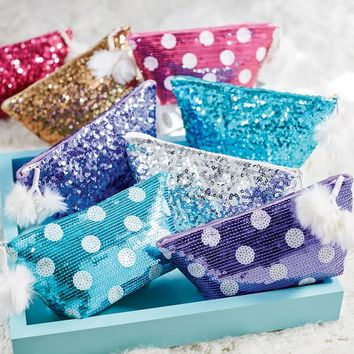 Gum Drop Dot Sequin Beauty Pouch